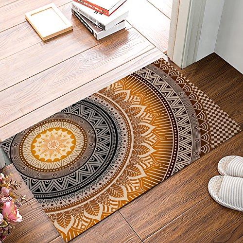 """FAMILYDECOR Doormat for Entrance Way Indoor/Bathroom/Front Door Area Floor Mat Rugs Rubber Non Slip Absorb Kitchen Runner Carpet, Hippie Mandala Art Design Boho (Gold) 32""""x20"""""""