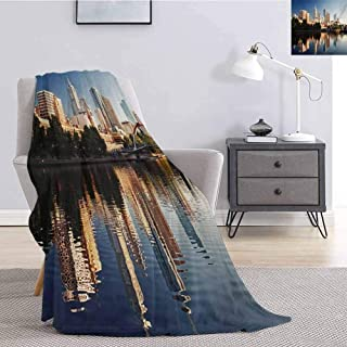 Tr.G City Comfortable Large Blanket Idyllic View of Yarra River Melbourne Australia Architecture Tourism Microfiber Blanket Bed Sofa or Travel W55 x L55 Inch Dark Blue Ivory Dark Green