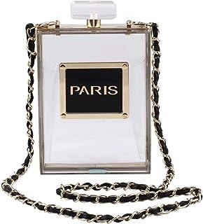 LETODE Frauen Acryl Tasche Schwarz Paris Parfüm Form Abendtaschen Geldbörsen Kupplung Vintage Bankett Handtasche Transparent