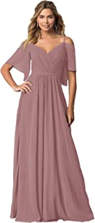 KKarine Women's V Neck Chiffon Long Bridesmaid Dress with Sleeves Formal Evening Gown