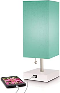 Modern Teal Aqua Small Table Lamp w USB Quick Charging Port, Great LED Lamp, Bedside Lamp, LED Desk Lamp, Bedroom Lamps, Table Light, Nightstand Lamp, Lamps for Bedrooms, 5% Discount for Set of 2