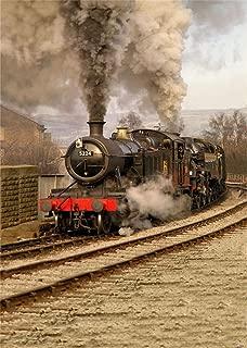 AOFOTO 5x7ft Old Fashioned Steam Locomotive Photography Studio Backdrops Vintage Train Depot Photo Shoot Background Retro Engine Outdoor Railway Video Props Adult Boy Girl Man Kid Artistic Portrait