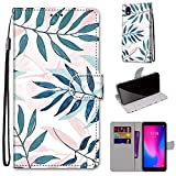 Tznzxm ZTE Avid 579 Wallet case,ZTE Blade A3 2020 Case, Beautiful Leaf Design Premium PU Leather Flip Cover with Kickstand and Card Holder Slots Protective Magnetic Phone Case for ZTE Avid 579