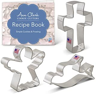 Ann Clark Cookie Cutters 3-Piece Religious Christmas Cookie Cutter Set with Recipe Booklet, Angel, Cross and Dove