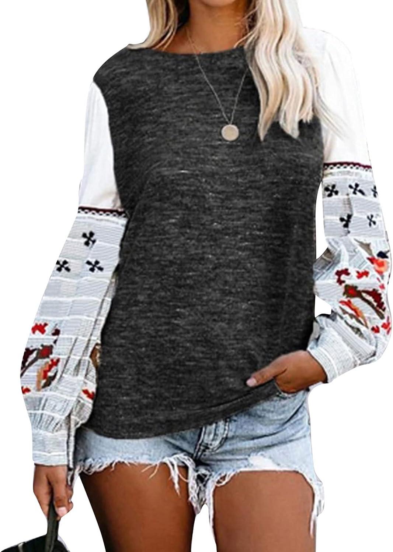 Women's Pullover Top Autumn Winter Round Neck Long Sleeve Printed Sweatshirt Tunics