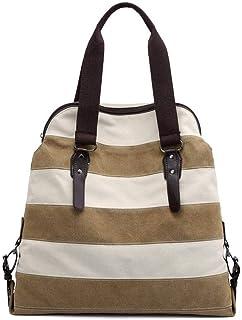 Clearance Women's Canvas Tote Bag, Long Handle Shoulder Bag, Navy Stripe Women's Handbag, Zipped Compartment, Lightweight Shopping Work Holiday Bag SYLOZ
