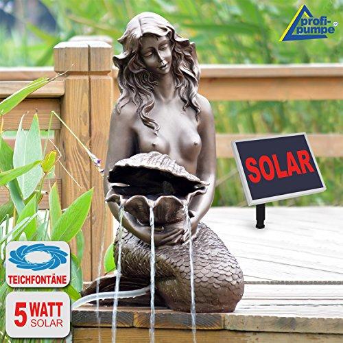 """SPRINGBRUNNEN GARTENBRUNNEN SOLAR ZIERBRUNNEN Teichpumpe Set BRUNNEN Solar """"Meerjungfrau"""", SOLARBRUNNEN GARTENTEICH BRUNNEN SETVOGELBAD WASSERSPIEL für Garten, Terrasse, Teich, Balkon, sehr DEKORATIV, VERBESSERTES MODELL MIT PUMPEN-INSTANT-START-FUNK"""
