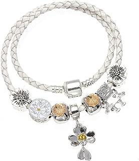Ashley-OU Fashion Leather Charms Bracelet Clover & Ladybug Pendant Fit Bracelets Women Pulseira Jewelry