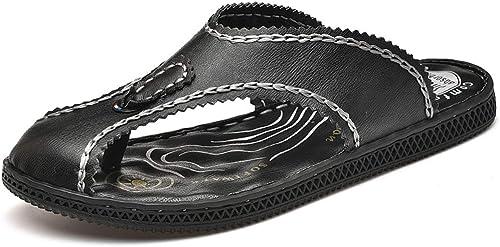 BNMZX Tongs Occasionnels pour pour Hommes, Sandales en Caoutchouc, Tongs, Chaussures Plates, Sandales de Sport séparateur d'orteils,noir-42  édition limitée chaude