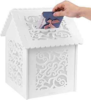 Amon Tech Wedding Card Boxes for Reception White House Decorative Boxes Gift Card Box for Bridal Party Birthdays Graduations Baby Showers Card Box Wedding