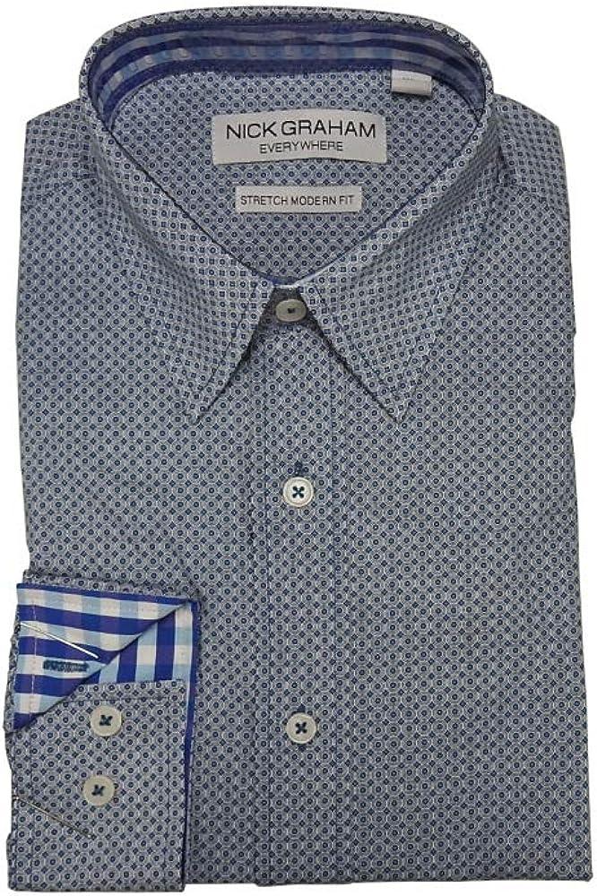 Nick Graham Modern Stretch Teal Blue Pattern L/S Cotton Dress Shirt (XXL)