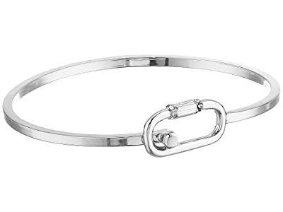 AllSaints Pave Mini Carabiner Bangle (Rhodium) Bracelet