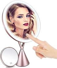 Espejo de Maquillaje, Morpilot Espejo de Aumento 1x/5x con Luz LED de Pantalla Táctil y Carga USB, con Diseño de Tres Modos de Luz Ajustable - Soporte Ajustable de 45 Grados -Oro Rosa 210 * 90 * 342mm