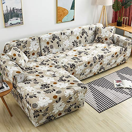 ASCV Fundas de sofá en Forma de L para Sala de Estar Fundas elásticas para sofá Funda de sofá elástica Toalla de Esquina Funda de sofá A4 3 plazas
