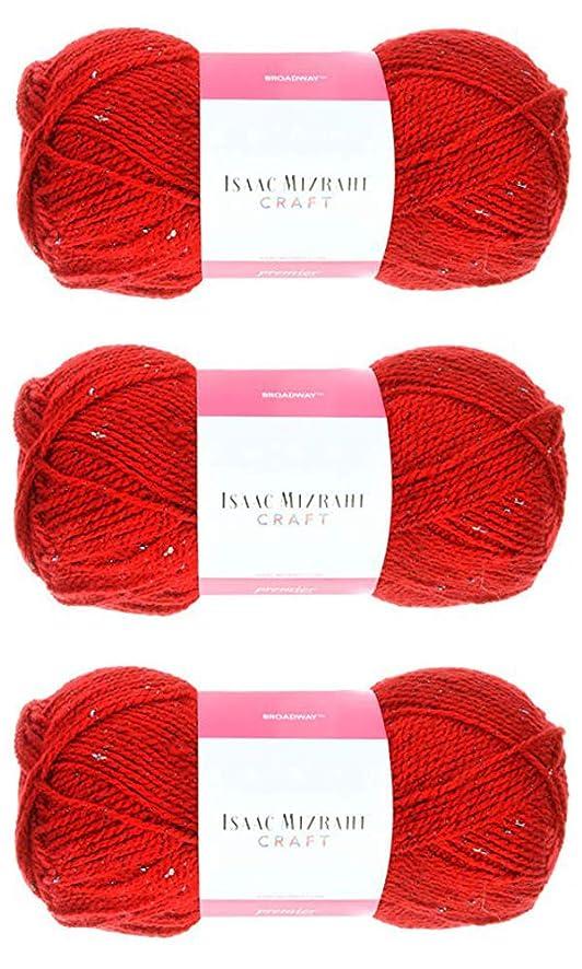 Isaac Mizrahi Broadway Craft Yarn 100g - Imperial Red, 3-Pack