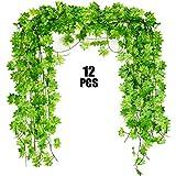 Noverlife 12PCS 27.5m Artificial Hoja de Arce de la Vid, Falso Primavera follaje Hojas verdor del Verano Ivy Garland Planta Colgante para el Banquete de Boda de la Pared del jardín Decoración