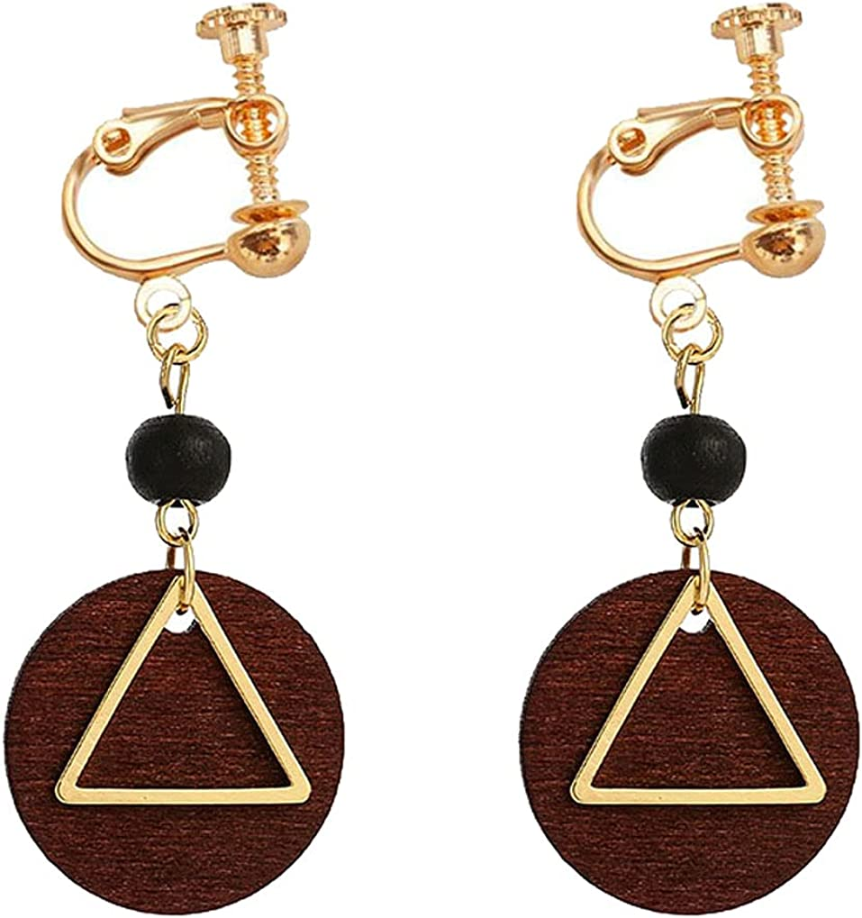 Clip on Non Pierced Earrings Wooden Beaded Triangle Dangle Drop for Women Girl Fashion Ears Jewelry Retro Geometric Round Disc Dangling Boho Style Princess Gifts Party Dress Up