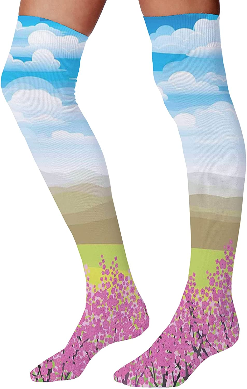 Men's and Women's Fun Socks,Japan Sunny Autumn Fall Plants Landscape with Trees Mountains and Ocean Panorama