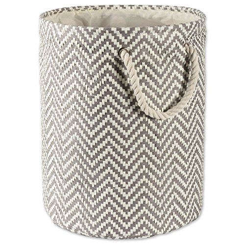 """DII Woven Paper Basket or Bin, Collapsible & Convenient Organization & Storage Solution for Your Home (Large Round - 15x20"""") - Gray Chevron"""