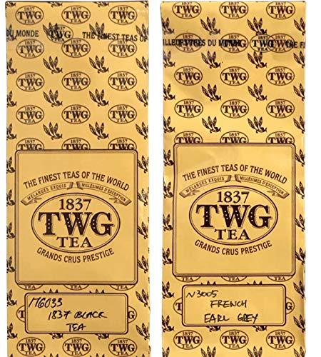 シンガポールの高級紅茶TWG French Earl Grey「 フレンチアールグレイ」& 1837 Black Tea「ブラックティー」バルクバック [並行輸入品]
