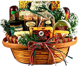 Holiday Homecoming: Holiday Meat and Cheese Gift Basket for the Holidays (Medium) - Christmas Gift Basket with Sweet and Savory Treats
