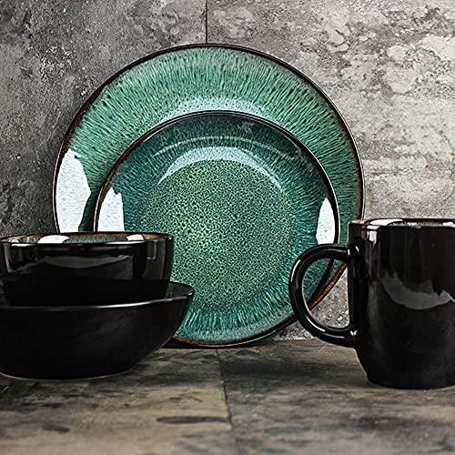 KJSWEI Conjunto de vajillas de cerámica Verde, vajilla de cerámica, Conjunto de vajillas de Pavo Real Creativo, Conjunto de vajillas, Adecuado para Ensalada, Helado, Postre, arroz