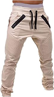 MogogoMen Mid Waist Solid Colored Fitted Beam Foot Shirring Jogger Sport Pants