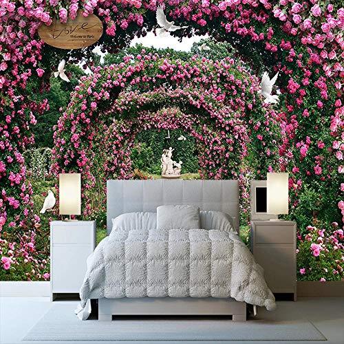 rylryl Romántica flor de la vid de la rosa del jardín de la paloma del paisaje de la pintura de la pared Mural Cafe Restaurant Bedroom Wallpaper-250x175cm