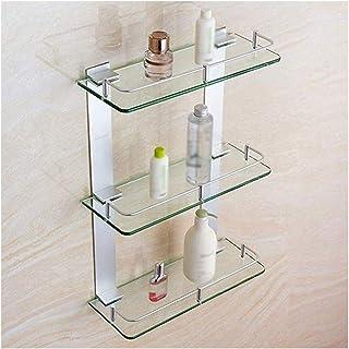Antirouille Coin rangement Porte-étagère en verre de 3 étagères Tier Hanging Douche de salle de bains Organisateur 20 racc...
