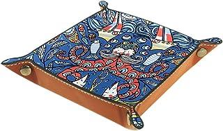 Panier de rangement carré de 16 × 16 cm, avec motif de vieilles pieuvres colorées et de bateaux à poissons, boîte de range...