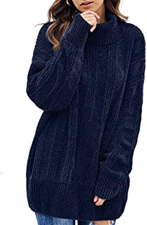 Yskkt Womens Plus Size Turtleneck Oversized Sweater Casual Long Sleeve Warm Chunky Knit Pullover