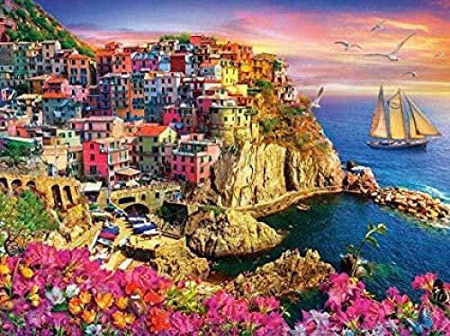 Zhyxia PuzzleNuovoPuzzle Liguria Puzzle in Legno Paesaggio delle Cinque Terre Adulti 1000 Pezzi Puzzle Bambino Adulto Cervello IQ Giocattolo in Via di Sviluppo