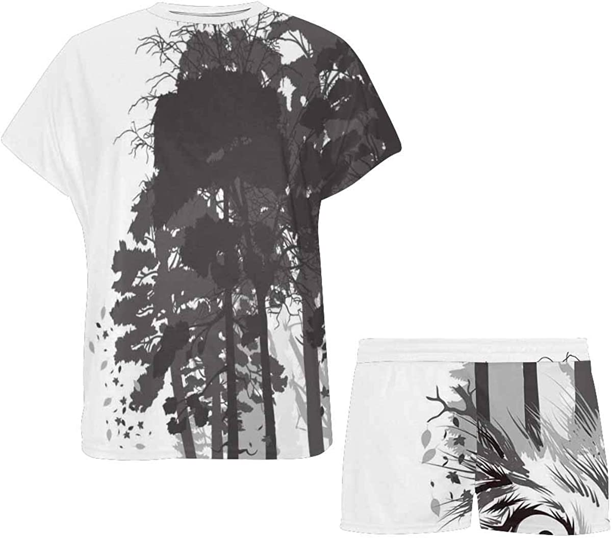 INTERESTPRINT Wolf Silhouette on Forest Background Women's Lightweight Pajama Set, Short Summer Pjs