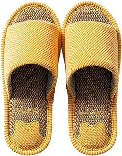 Ladies Linen Slippers, Home Floor Open Toe Slippers Linen Sweat Absorbing Deodorant Antibacterial Slippers Garden Sandals
