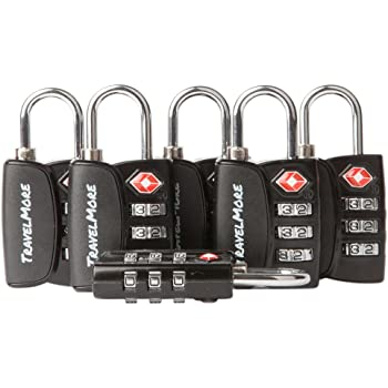 Open Alert Indicator TSA Approved 3 Digit Luggage Locks to Lock Travel Suitcase (6 Pack, Black)
