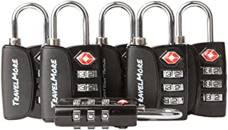 Open Alert Indicator TSA Approved 3 Digit Luggage Locks to Lock Travel Suitcase (6 Pack, Black)