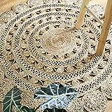 Round Jute Area Rug Woven Golden Leaf Handmade (6 Feet, Natural)