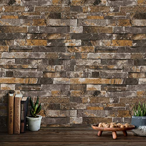 3D Faux Brick Wallpaper Textured Stone Wallpaper Roll 20.8' x 393.7' Home Room Decoration