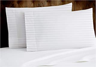 Tissaj King Size Pillow Covers - 2 Cases Set - Stripes Ultra White Color - 100% GOTS Certified Organic Cotton - 300 Thread...