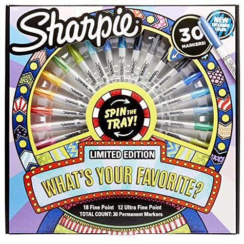 Sharpie Permanent Markers with Spinning Tray, Fine & Ultra-Fine Tip, Multi Color 30 Pack