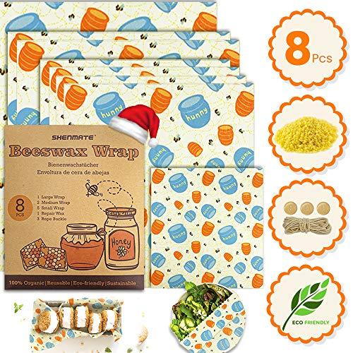 Bienenwachstücher 8 Stücke, Wachspapier für Lebensmittel, Bienenwachstuch Bio, Wiederverwendbares Wachstücher Umweltfreundliches Beeswax Wrap für Natürliche Mehrweg