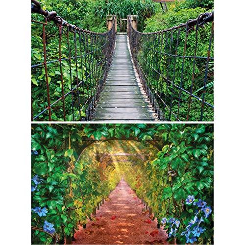 GREAT ART Set de 2 Carteles XXL   140 x 100 cm   paraíso Verde Puente Colgante y callejón del Vino trópicos Selva Naturaleza Paisaje   Foto Póster de Pared Mural Imagen Decoración