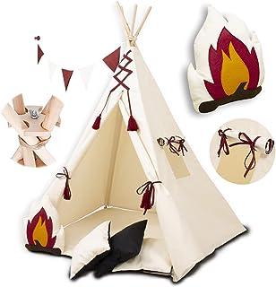 PALULLI Tipi lektält för barn med matta och antikollapssystem och 4 dekorativa kuddar bomull- segelduk barntält (INDIANS)