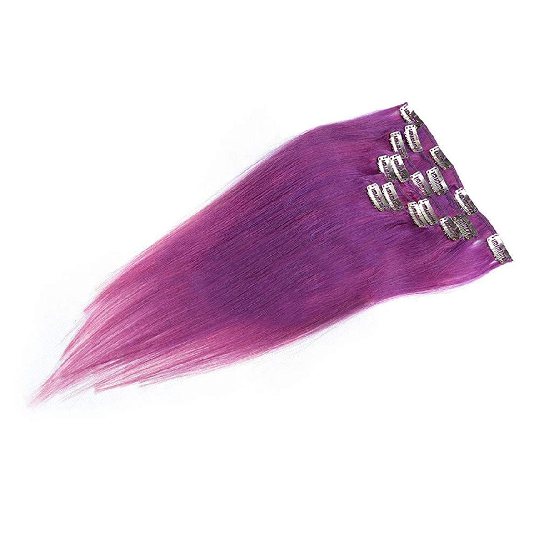 ハント晴れ慢性的HOHYLLYA 18インチクリップヘアエクステンション人間の髪の毛#LILA明るい紫色7個フルヘッドストレートロールプレイングかつら女性の自然なかつら (色 : #LILA)