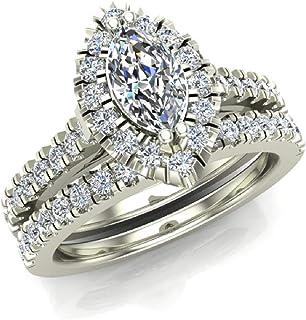 Marquise Cut Halo Diamond Wedding Ring Set 1.25 Carat Total 14K Gold (J,I1)