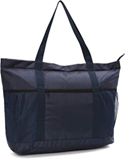 Large Foldable Beach Bag With Zipper - XL Foldable Tote Bag For Travel And Shopping - Large Tote Bag With Many Pockets (Dark Navy)