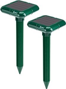Redeo Solar Powered Ultrasonic Mole Repellent Gopher Repeller Vole Deterrent Pest Groundhog Chaser for Lawn Garden Yard Outdoor 2 Pack Dark Green