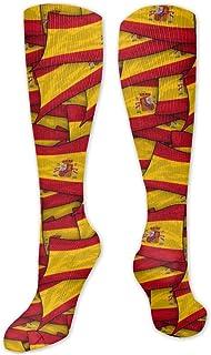 MISS-YAN, Calcetines de collage con la bandera de España para hombres y mujeres divertidos para correr con el atlético Trel deportes sobre la pantorrilla calcetines