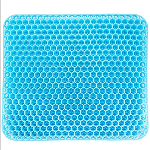 Gel Seat Cushion, Gel Seat Cushion for Long Sitting with Non-Slip Cover Double Thick, Breathable Honeycomb Design Super Breathable Gel Seat Cushion Help in Relieving Back Pain Sciatica Pain for office