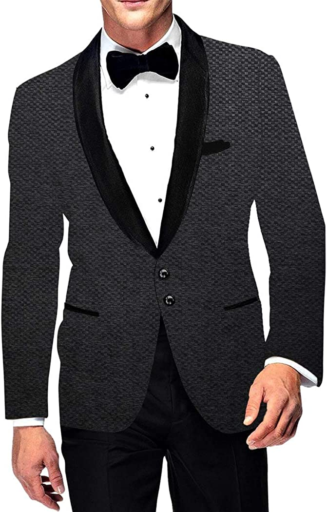 INMONARCH Mens Two Button Casual Slim fit Gray Blazer Sport Jacket Shawl Lapel Jute Coat SB19233